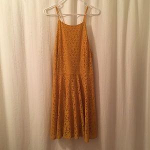 Mustard lace plus size dress